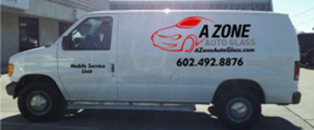 One of our enclosed A Zone Auto Glass Fleet Vans protecting your windshield