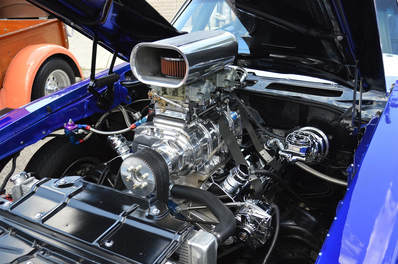 A freshly detailed engine bay in a Hot Rod show car